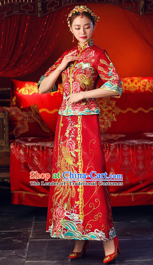 Chinese Ancient Embroidered Wedding Costumes Bride Formal Dresses Toast Cheongsam XiuHe Suit for Women