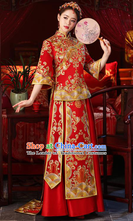 Chinese Ancient Embroidered Wedding Costumes Bride Red Trailing Formal Dresses XiuHe Suit for Women