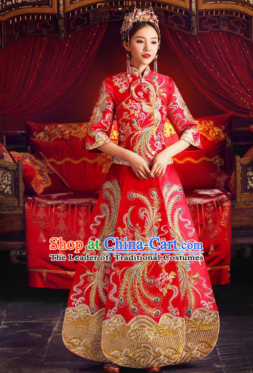 Chinese Ancient Traditional Wedding Costumes Bride Formal Dresses Cheongsam Embroidered Phoenix XiuHe Suit for Women