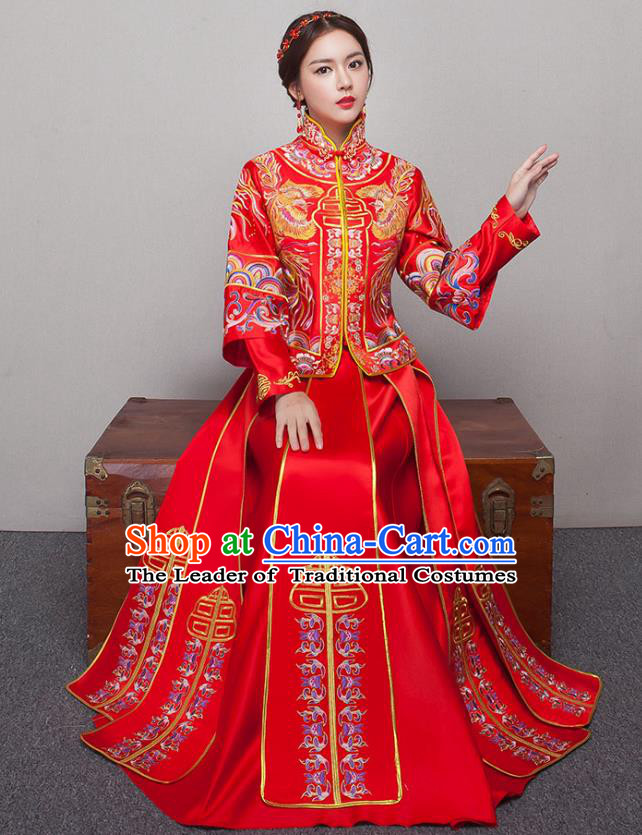 Chinese Ancient Wedding Costumes Bride Formal Dresses Embroidered Slim Red XiuHe Suit for Women