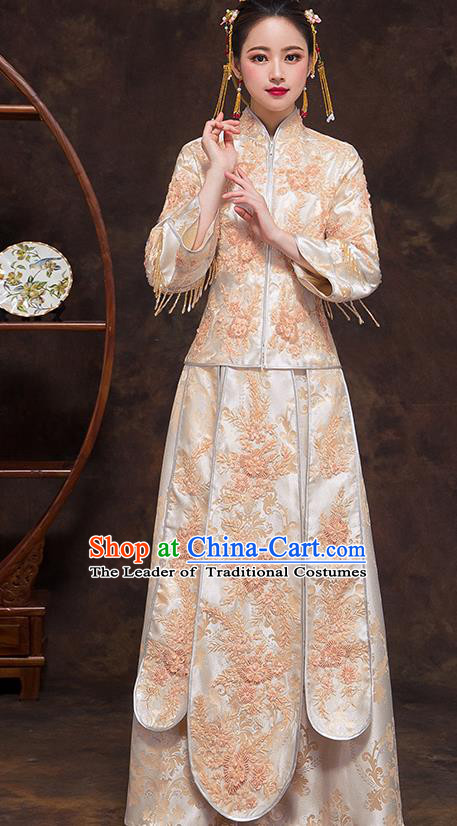 Chinese Ancient Wedding Costumes Bride Formal Dresses Embroidered Bottom Drawer XiuHe Suit for Women