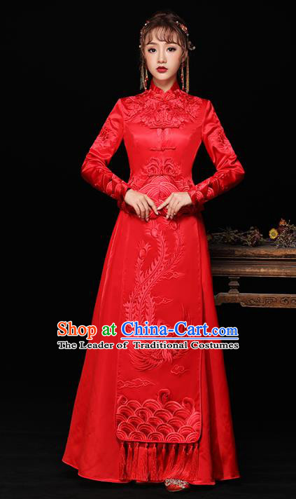 Chinese Ancient Wedding Costumes Bride Red Formal Dresses Embroidered Slim Longfenggua XiuHe Suit for Women