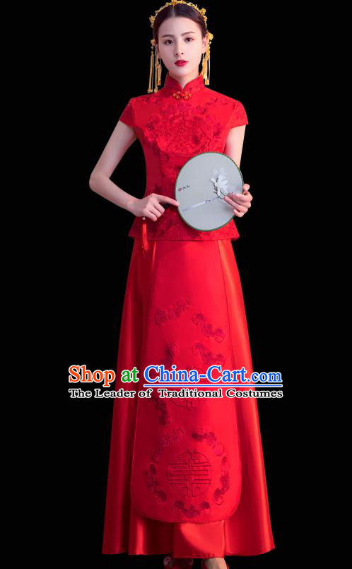 Chinese Ancient Wedding Costumes Bride Formal Dresses Embroidered Toast Cheongsam XiuHe Suit for Women