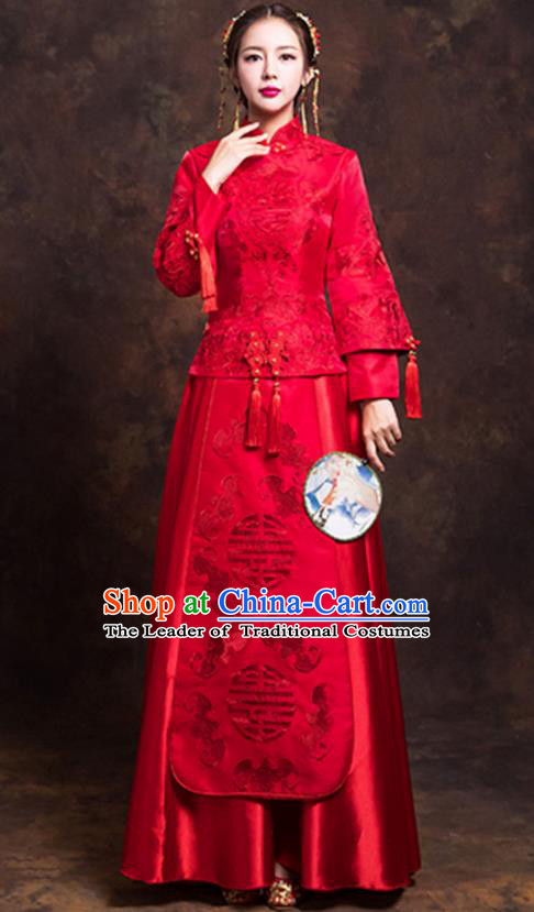Chinese Ancient Bride Formal Dresses Wedding Costume Embroidered Toast Cheongsam XiuHe Suit for Women