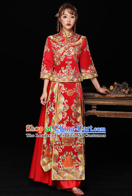 Chinese Ancient Bride Formal Dresses Wedding Costume Embroidered Red Cheongsam XiuHe Suit for Women