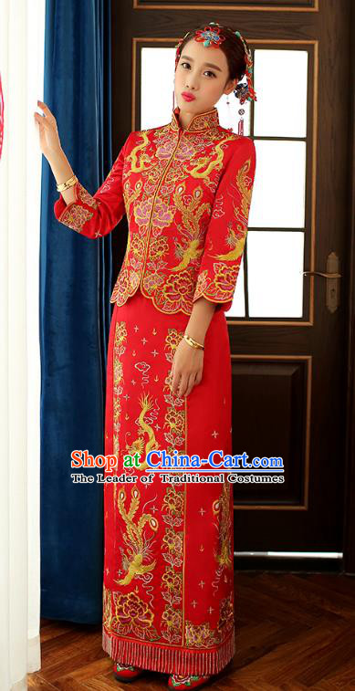Chinese Ancient Bride Formal Dresses Wedding Costume Embroidered Dragon Phoenix Longfenggua XiuHe Suit for Women