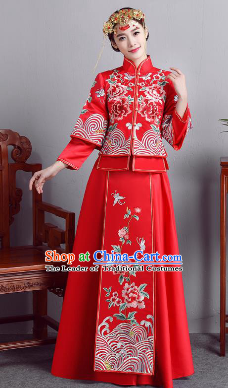 Chinese Ancient Bride Formal Dresses Wedding Costume Embroidered Peony Red Longfenggua XiuHe Suit for Women