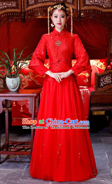 Top Grade Chinese Traditional Wedding Dress XiuHe Suit Ancient Bride Embroidered Red Lace Cheongsam for Women