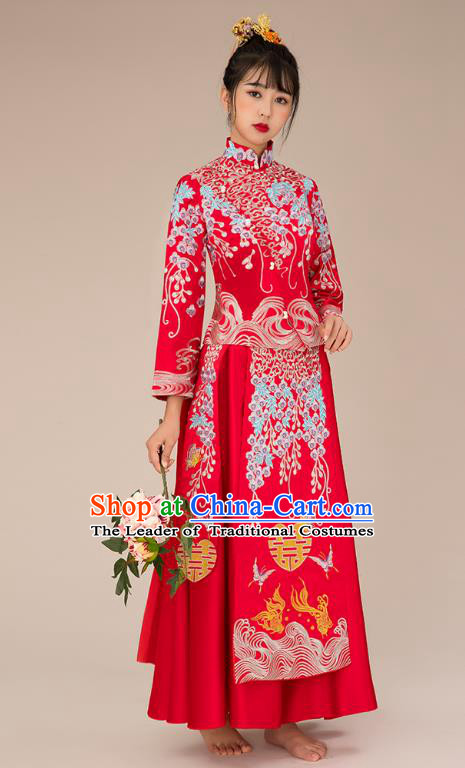 Chinese Ancient Bride Veil Formal Dresses Xiuhe Suit Embroidered Wedding Costume for Women