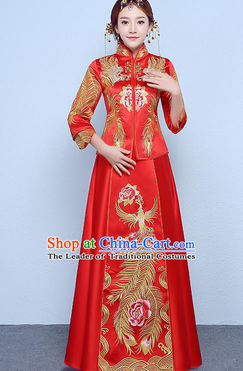 Chinese Traditional Wedding Dress Embroidered Peony Red XiuHe Suit Ancient Bride Cheongsam for Women