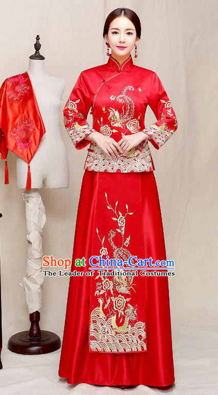 Chinese Traditional Embroidered Wedding Dress Red XiuHe Suit Ancient Bride Cheongsam for Women