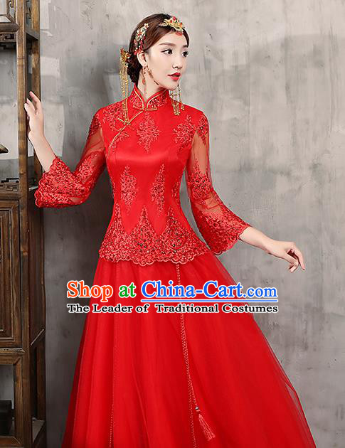 Chinese Traditional Wedding Dress Red Lace XiuHe Suit Ancient Bride Embroidered Toast Cheongsam for Women
