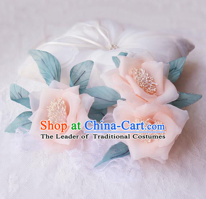 Top Grade Wedding Hair Accessories Bride Pink Flower Hair Claws for Women
