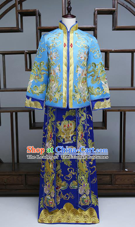 Ancient Chinese Male Wedding Toast Costumes Traditional Bridegroom Tang Suit Blue Long Robe for Men