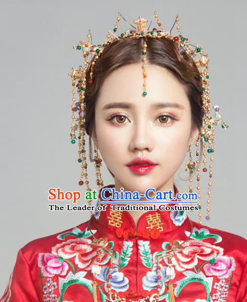 Top Grade Chinese Ancient Bride Hair Accessories Hairpins Phoenix Coronet Complete Set for Women