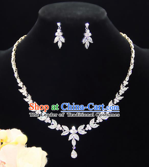 Top Grade Wedding Jewelry Accessories Bride Crystal Necklace and Earrings for Women