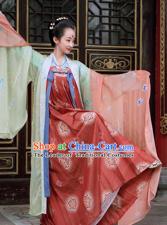 Chinese Tang Dynasty Imperial Concubine Costume Ancient Fairy Hanfu Dress for Women