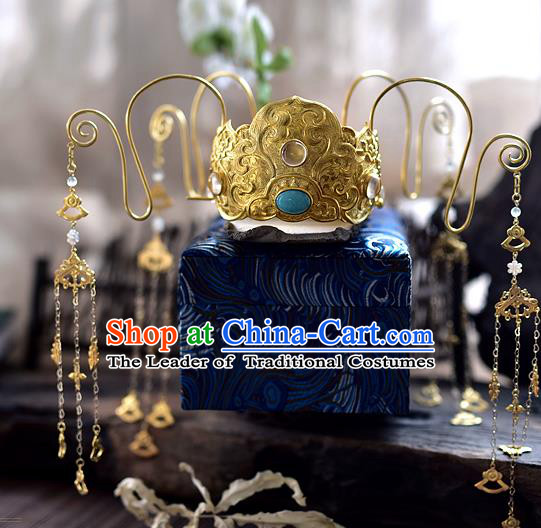 Chinese Traditional Hair Accessories Golden Phoenix Coronet Ancient Empress Hairpins Headwear for Women