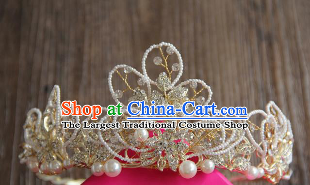 Top Grade Wedding Bride Hair Accessories Baroque Princess Beads Royal Crown for Women