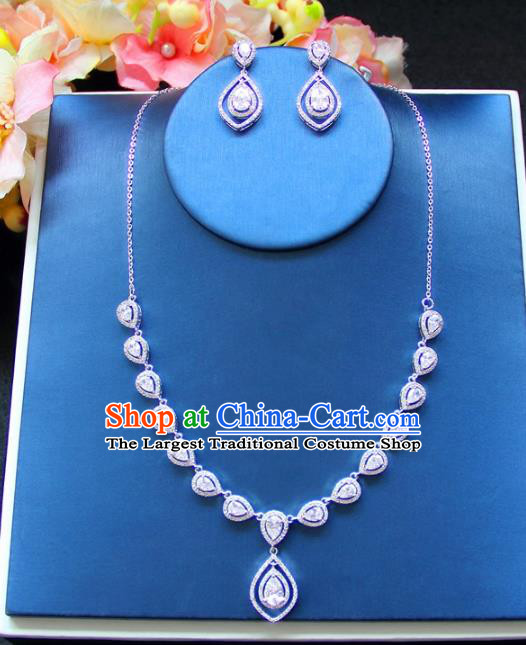 Top Grade Wedding Bride Jewelry Accessories Princess Crystal Necklace and Earrings for Women