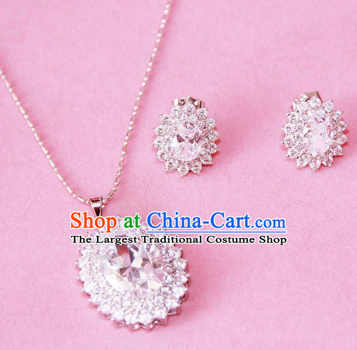 Top Grade Wedding Bride Jewelry Accessories Princess Zircon Necklace and Earrings for Women