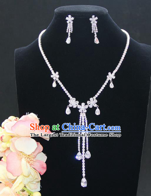 Top Grade Wedding Bride Jewelry Accessories Princess Zircon Flowers Necklace and Earrings for Women