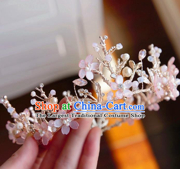 Top Grade Wedding Bride Hair Accessories Princess Hair Clasp Pink Flowers Royal Crown for Women