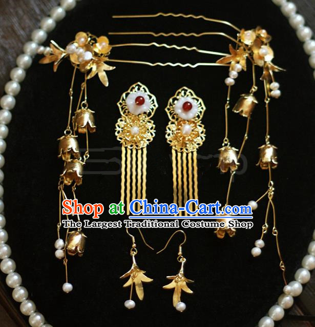 Top Grade Chinese Wedding Hair Accessories Ancient Bride Hairpins Hair Combs Complete Set for Women