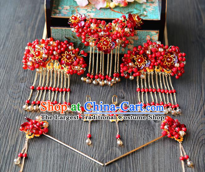 Top Grade Chinese Wedding Bride Hair Accessories Ancient Red Beads Hairpins Complete Set for Women
