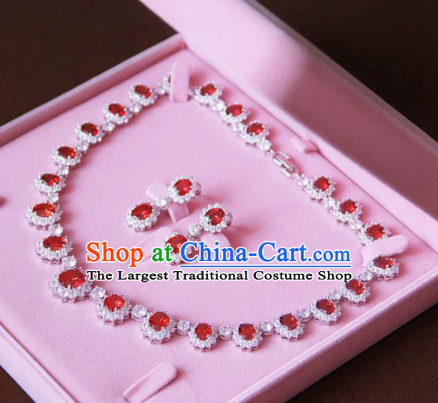 Top Grade Wedding Bride Jewelry Accessories Zircon Red Crystal Necklace and Earrings for Women