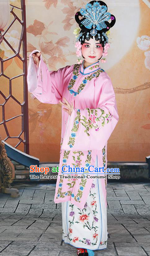 Professional Chinese Beijing Opera Costumes Ancient Huangmei Opera Actress Pink Clothing for Adults