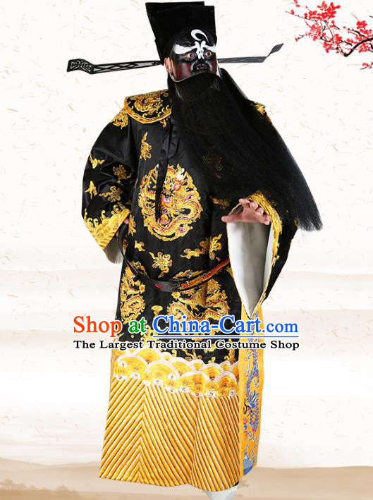 Professional Chinese Peking Opera Prime Minister Costume Bao Zheng Gwanbok Robe and Hat for Adults