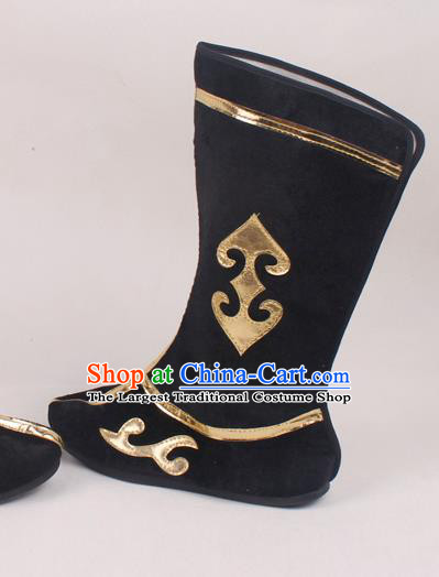 Chinese Traditional Beijing Opera Black Boots Peking Opera Shoes for Men