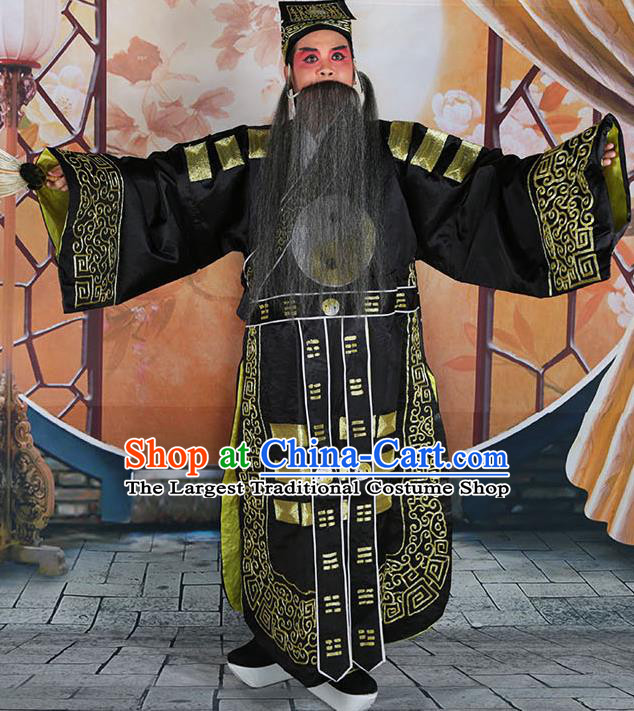 Professional Chinese Peking Opera Military Counsellor Costume Black Priest Robe and Hat for Adults
