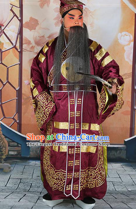 Professional Chinese Peking Opera Military Counsellor Costume Purple Priest Robe and Hat for Adults