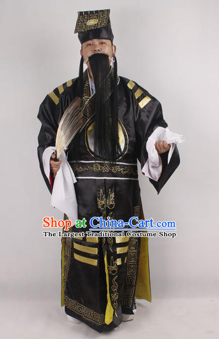Professional Chinese Peking Opera Strategist Costume Embroidered Black Robe and Hat for Adults