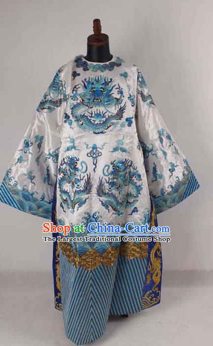 Professional Chinese Peking Opera Old Men Costume Prime Minister White Embroidered Robe for Adults