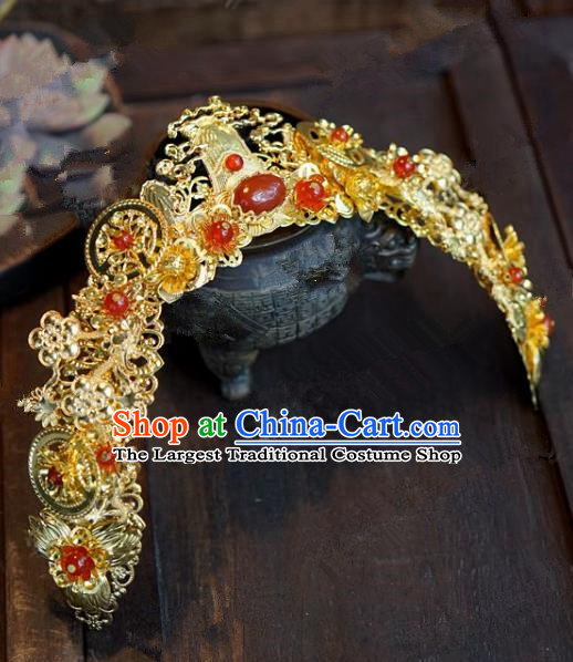 Chinese Handmade Ancient Wedding Hair Accessories Golden Phoenix Coronet for Women
