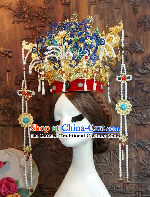 Chinese Handmade Wedding Hair Accessories Ancient Ming Dynasty Phoenix Coronet Hairpins for Women