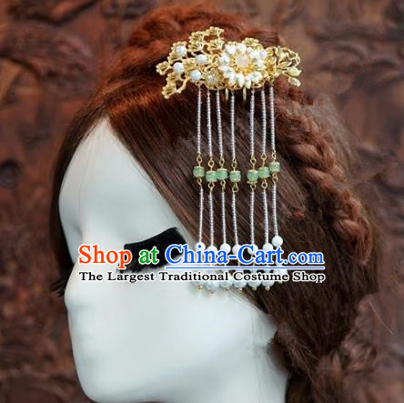 Chinese Handmade Ancient Hair Accessories Ancient Hanfu Pearls Tassel Hair Clip Hairpins for Women