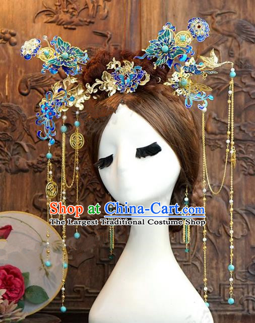 Chinese Handmade Wedding Phoenix Coronet Hair Accessories Ancient Cloisonne Hairpins Complete Set for Women