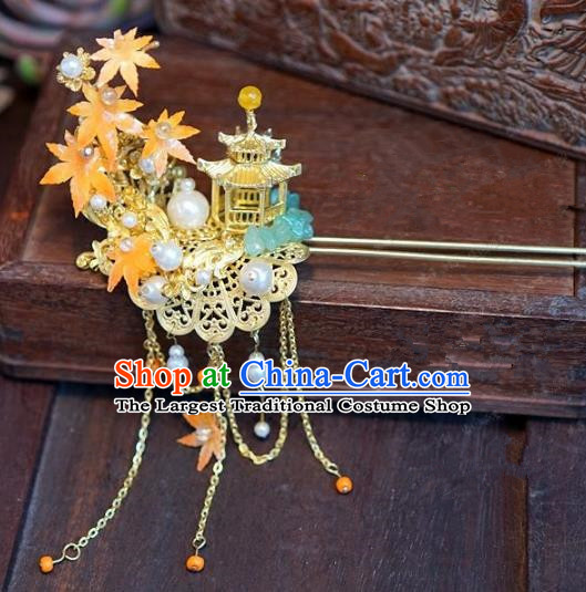 Chinese Handmade Ancient Hair Accessories Ancient Hanfu Hair Clip Maple Leaf Hairpins for Women