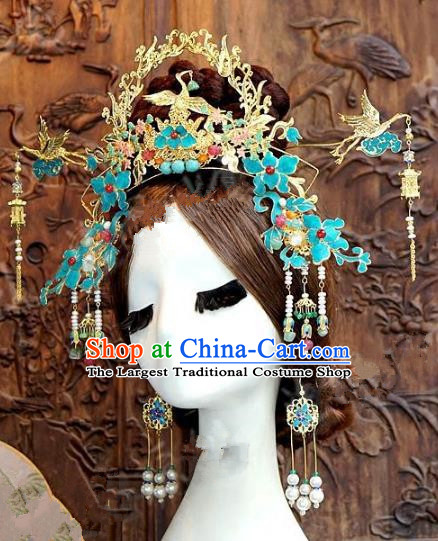Chinese Handmade Phoenix Coronet Wedding Hair Accessories Ancient Hairpins Complete Set for Women