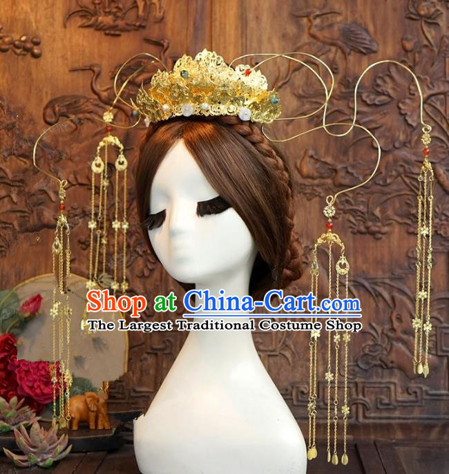 Chinese Ancient Handmade Hanfu Hairpins Wedding Hair Accessories Golden Lotus Phoenix Coronet for Women