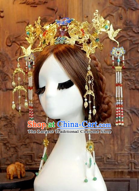 Chinese Handmade Wedding Hair Accessories Ancient Crane Phoenix Coronet Hairpins Complete Set for Women
