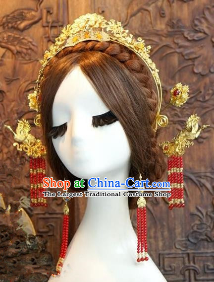 Chinese Ancient Handmade Golden Phoenix Coronet Hanfu Hairpins Wedding Hair Accessories Complete Set for Women