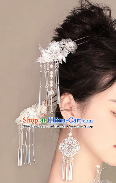 Chinese Ancient Handmade Bride Tassel Hairpins Hair Accessories Step Shake Complete Set for Women
