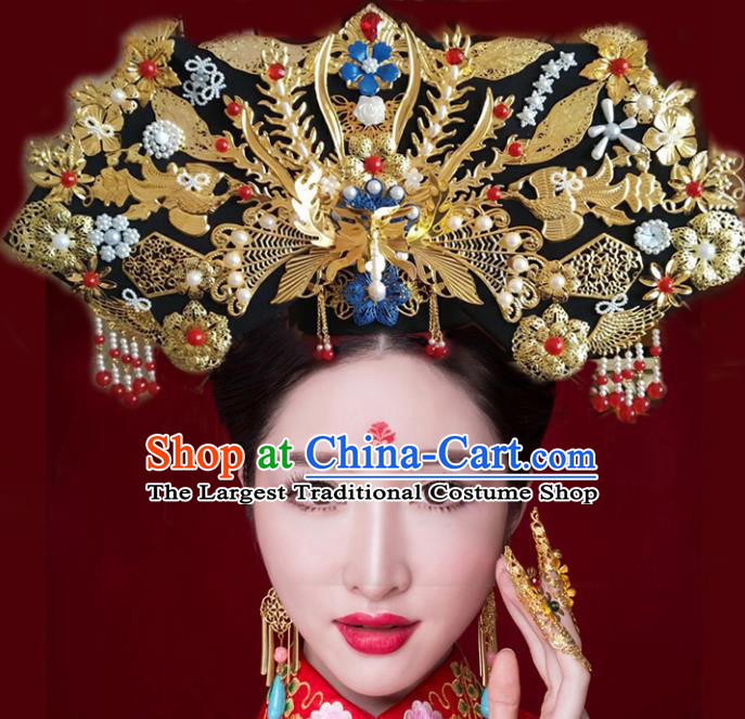 Chinese Ancient Bride Phoenix Coronet Qing Dynasty Palace Lady Handmade Hairpins Hair Accessories for Women