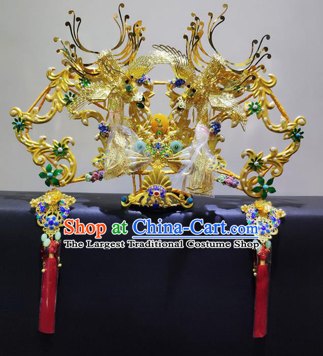 Chinese Ancient Golden Phoenix Coronet Qing Dynasty Palace Lady Handmade Hairpins Hair Accessories for Women