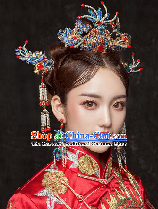 Chinese Ancient Handmade Cloisonne Phoenix Coronet Palace Lady Hairpins Hair Accessories for Women